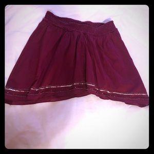 American Eagle Burgundy Skirt w/ Bottom Details